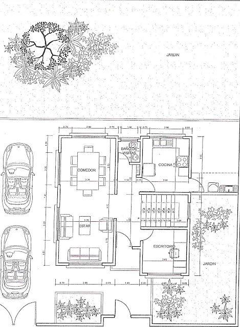Planos de casas 300m2 con jardin y cochera casa de campo for Planos de jardines