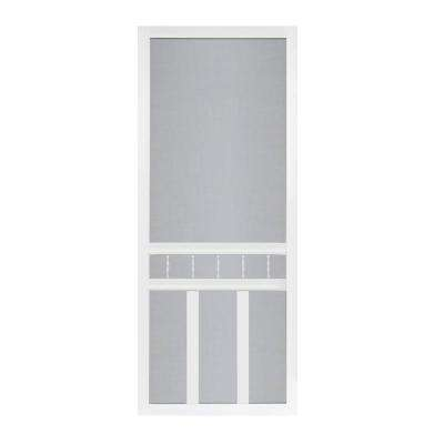 30 In X 80 In Waccamaw Solid Vinyl White Screen Door With