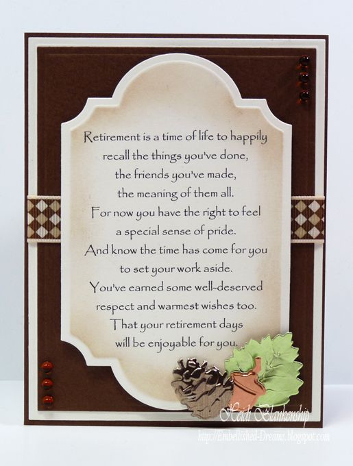 Hello blogging friends the card i am sharing with you today is a the card i am sharing with you today is a retirement card that i made for one of my husbands coworkers m4hsunfo