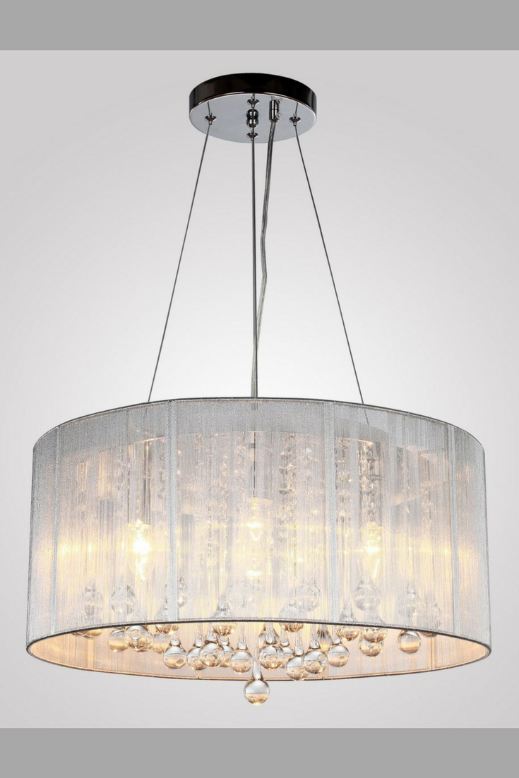 Beautiful Modern Chandelier. This Silver Crystal Pendant Light has