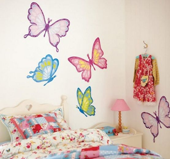 Little Girls Bedroom Decorating Ideas Wall Stickers Painting - Bedroom wall design ideas for teenagers