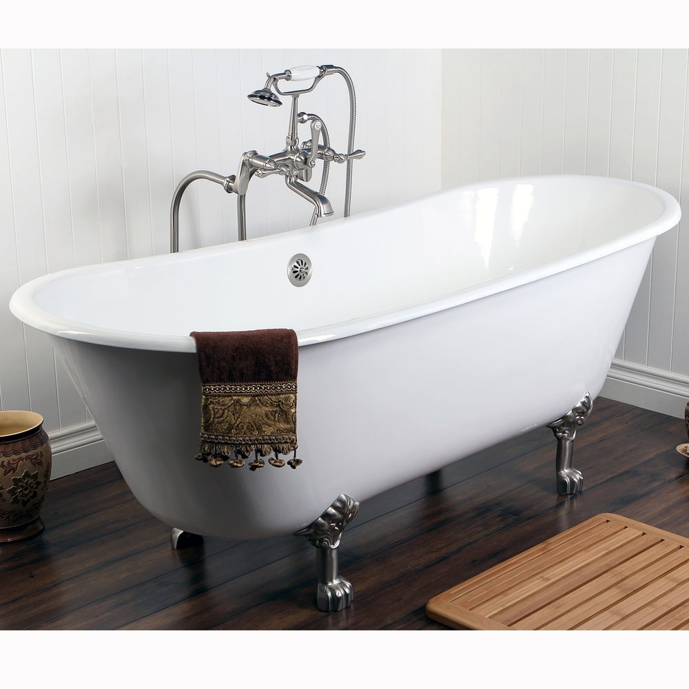 Double Slipper 67-inch Cast Iron Clawfoot Bathtub | Overstock.com ...