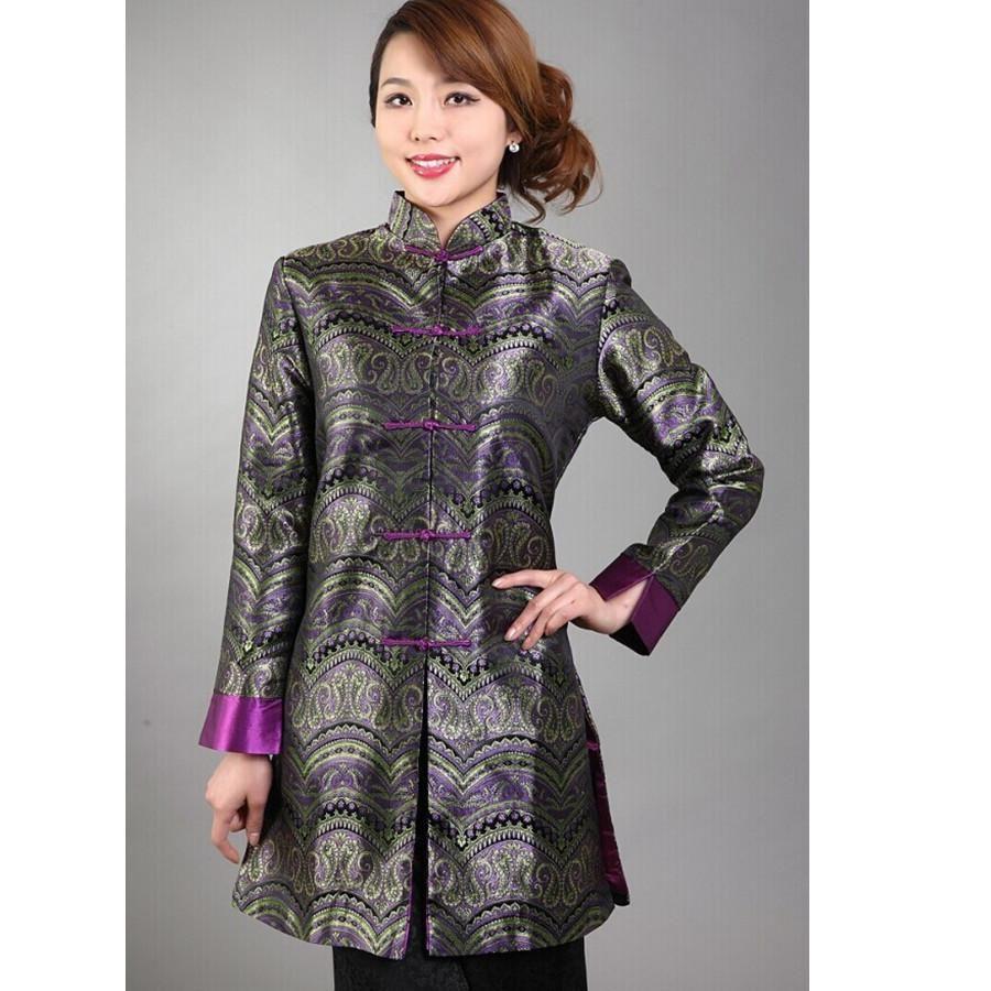 Mandarin collar flannel  Discount Gray Chinese Lady Silk Satin Jacket Mandarin Collar Slim