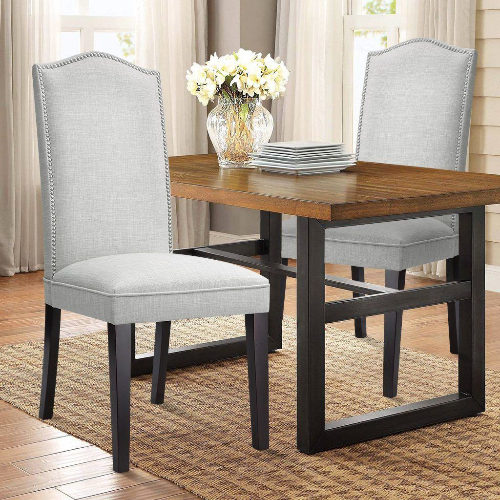 Modern Faux Linen Upholstered High Back Dining Chair Set Of 2