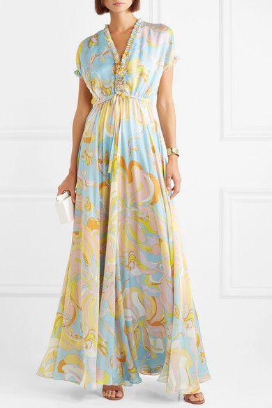 Aruba Ruffle-trimmed Printed Silk Maxi Dress - Blue Emilio Pucci uYYG5