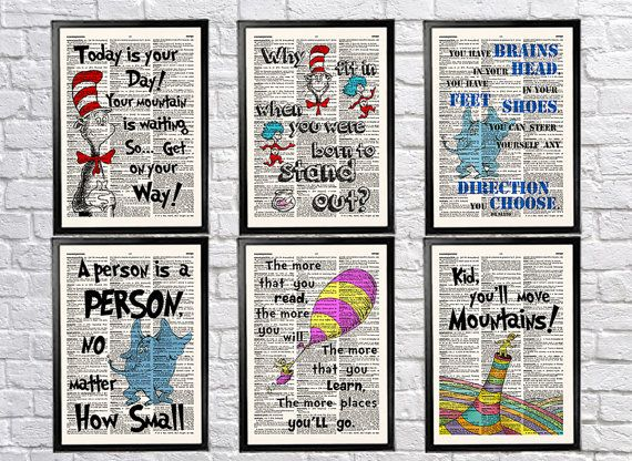 Dr Seuss Watercolor Wall Art Poster Prices From 9 95 Click Photo For Details Nursery Chr Canvas Wall Art Quotes Watercolor Art Prints Wall Art Quotes
