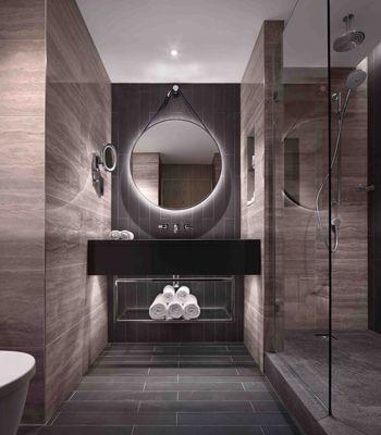 hilton london bankside interior design hotel design guestroom bathroom marble