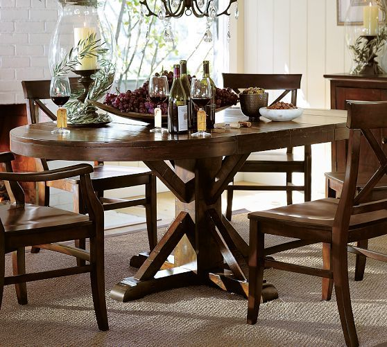 Benchwright Round Pedestal Extending Dining Table