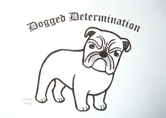 English Bulldog Drawing Print Black and White Pen Ink by mikaart ...