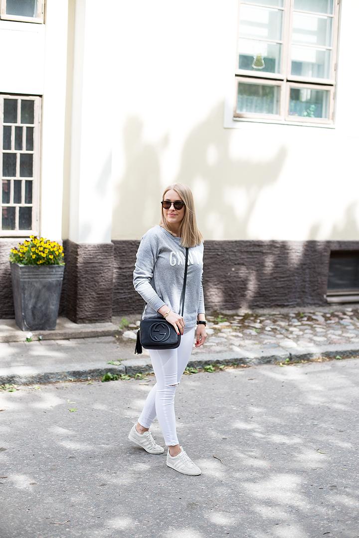 Gap sweatshirt, Gucci bag, Topshop jeans, Adidas sneakers