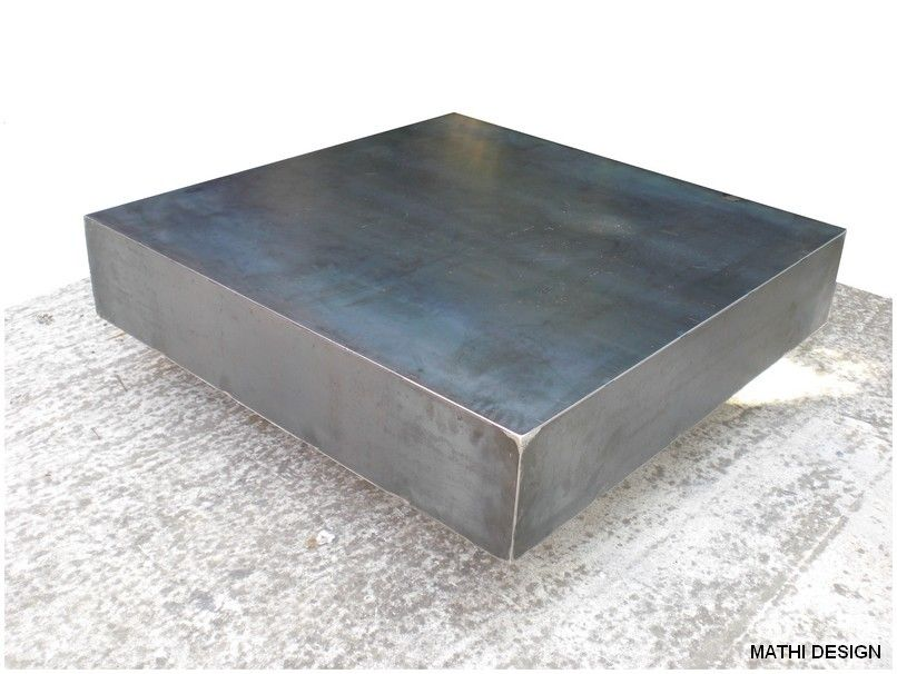 Table basse acier brossé | Metal head- CNC+ | Pinterest | Metals