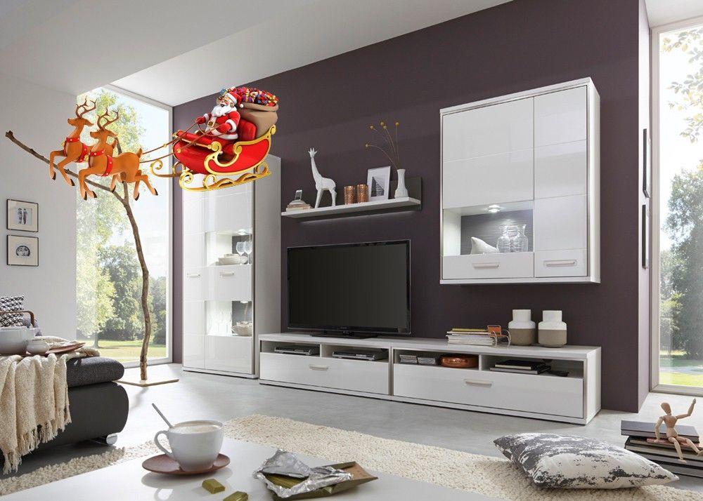 Wohnwand Trento Weiß Hochglanz mit Grau 20705 Buy now at
