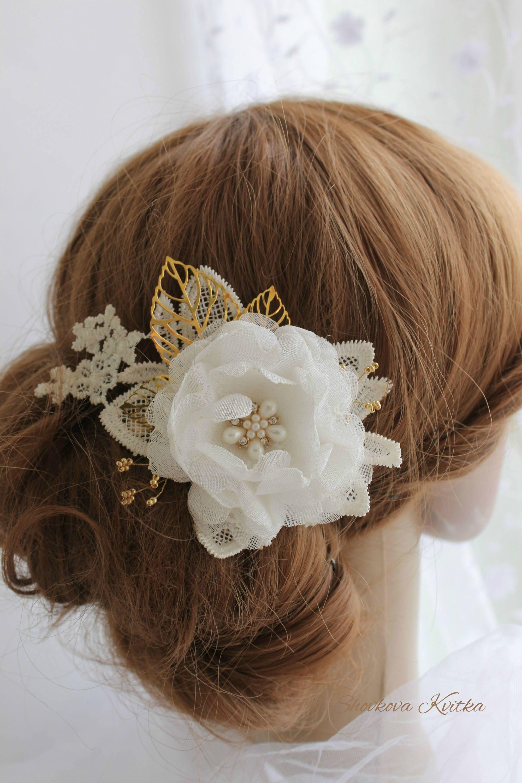 wedding white gold organza flower hair piece, bridal hair