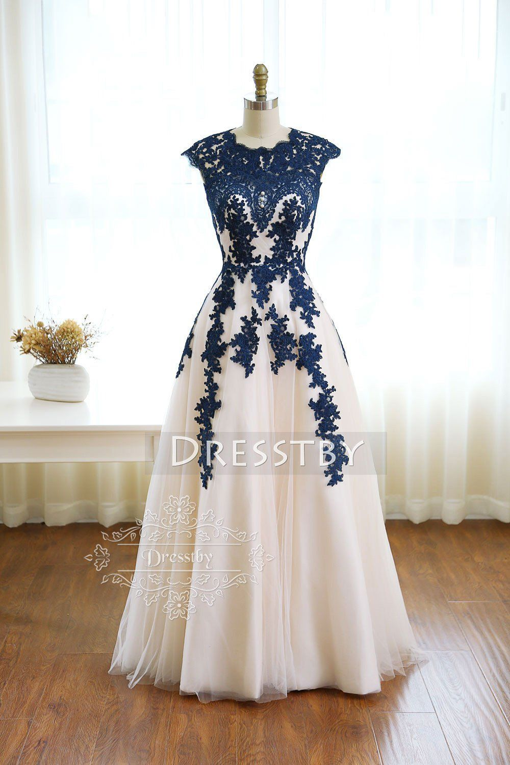 Dark blue round neck tulle lace long prom dress, bridesmaid dress ...