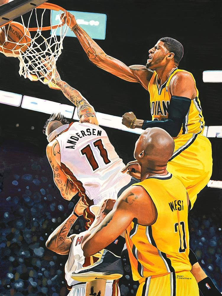 """Paul """"The Dunk"""" by James Fiorentino Sports art"""