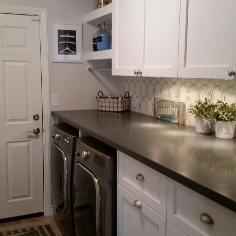 laundry room quartz countertops lowes wallpaper white shaker cabinets lg washer dryer storage silver drop behr