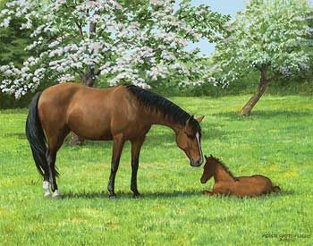 'Apple Blossom Time' - Horses - Original Painting by Persis Clayton Weirs