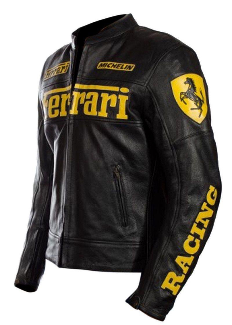 Handmade Men S Ferrari Motorcycle Leather Biker Jacket In Black With Yellow Logo Ferrariyellowb Leather Jacket Style Leather Jacket Men Unique Leather Jacket [ 1120 x 800 Pixel ]