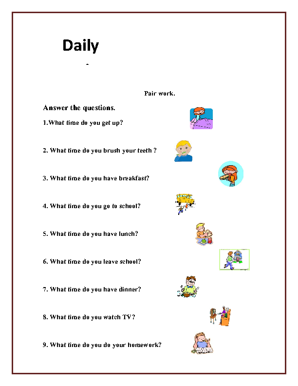 daily routine worksheet에 대한 이미지 검색결과 | G5 | Pinterest ...