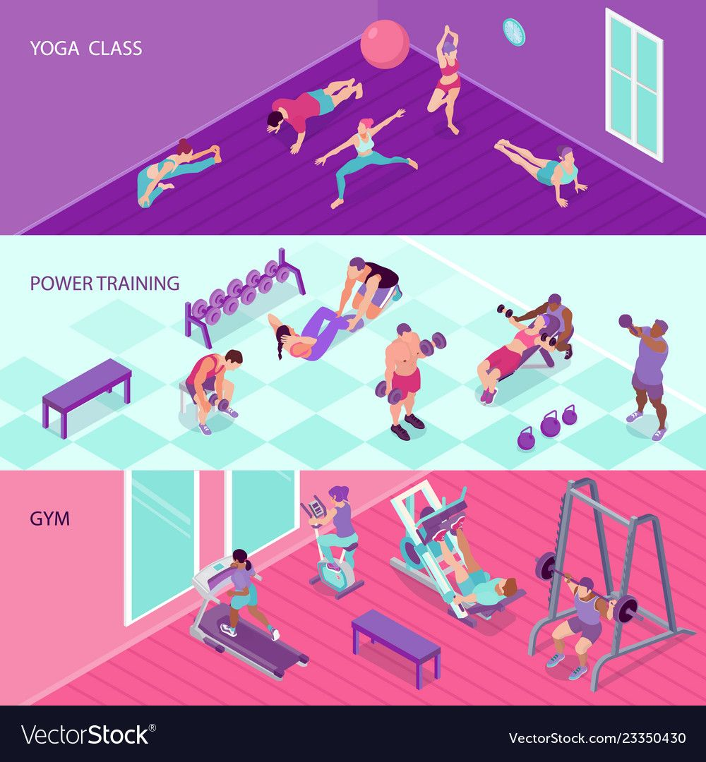 Isometric fitness banners set Royalty Free Vector Image , #spon, #banners, #set, #Isometric, #fitnes...