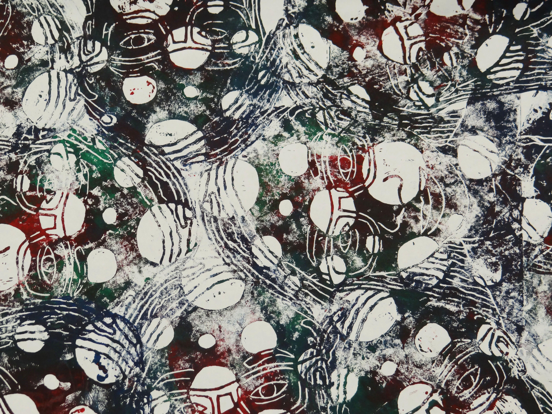 Self portrait pattern, linolium block print