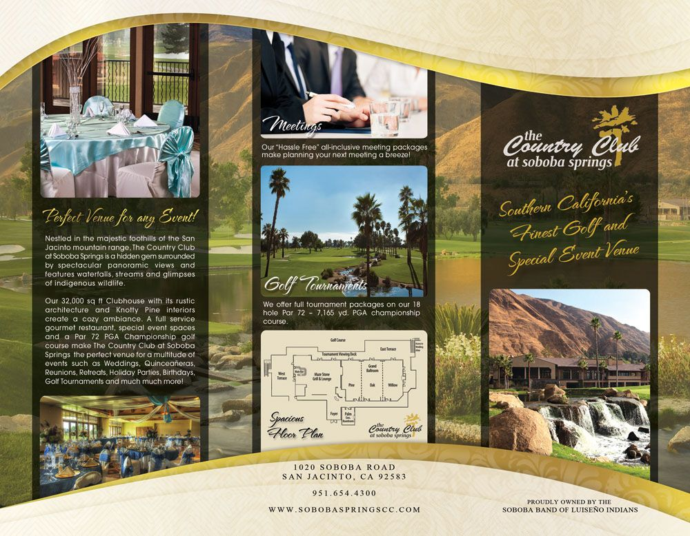 Soboba Springs Country Club brochure cover Graphic Design - golf tournament brochure