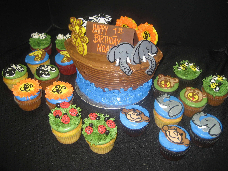 Noah S Ark Cake And Cupcakes Animal Cupcakes Shaped Ark Cake Noahs Ark Cake Cupcake Cakes Animal Cupcakes