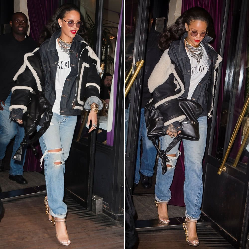 Black sandals rihanna - Rihanna Wearing Dylanlex Rings And Falkor Iii Necklace Jennifer Fisher Knot Choker Brashy Couture