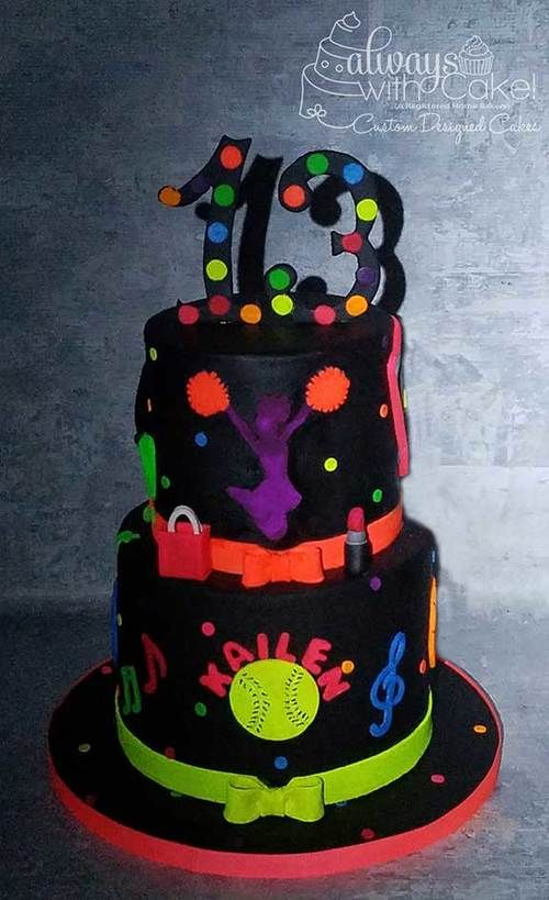 Neon Glow In The Dark Cake 9th Birthday Pinterest Neon Glow