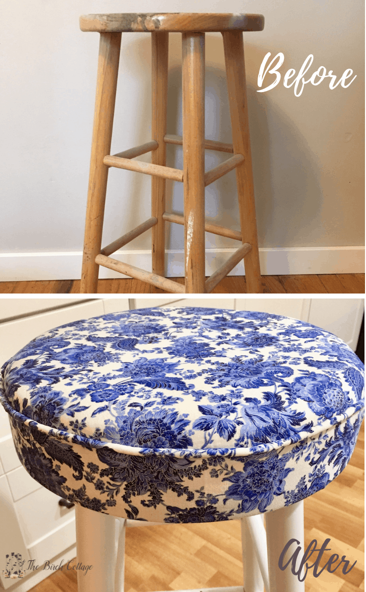 How To Upholster A Bar Stool Round Seat Cushions Stool Makeover