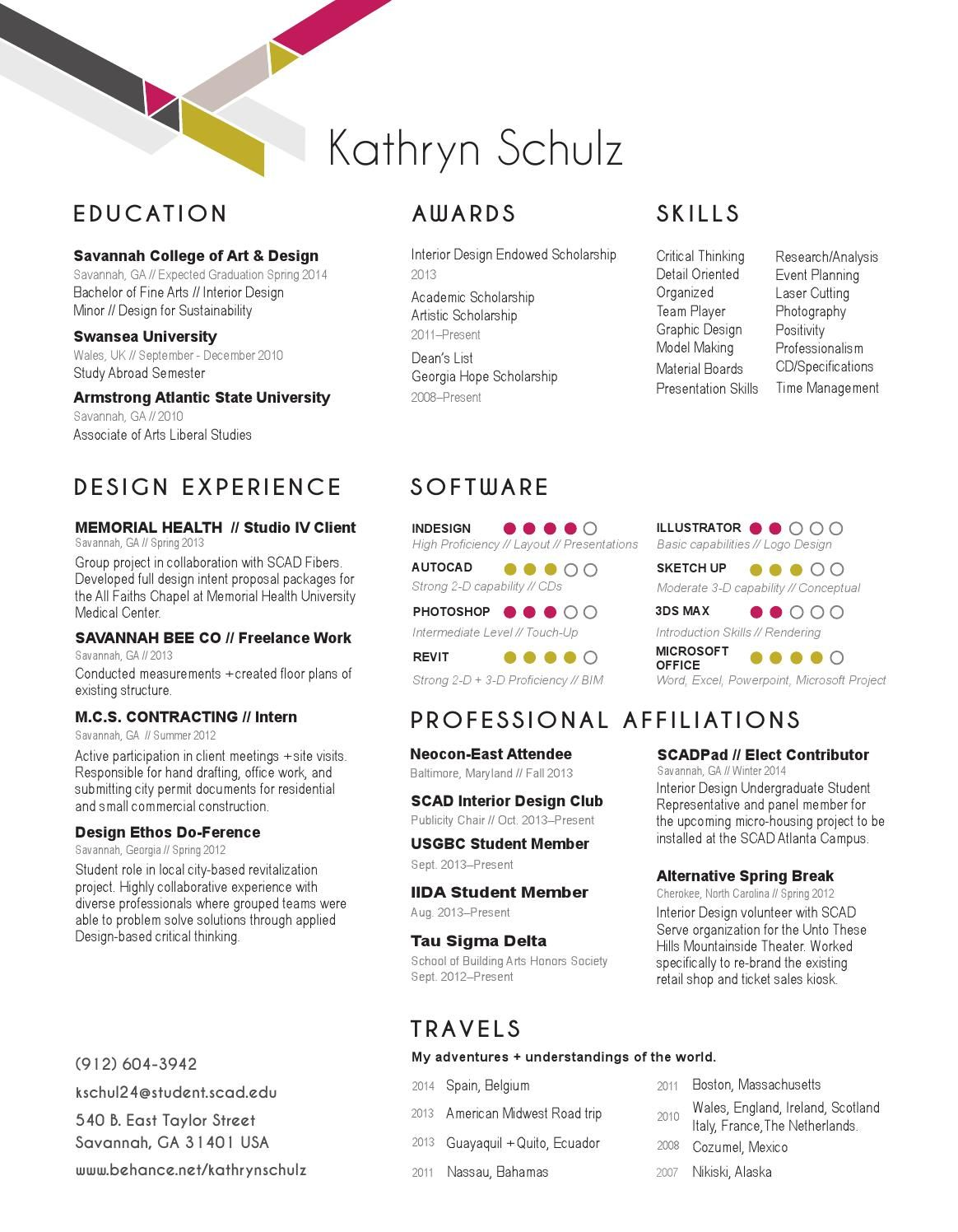 Kathryn Schulz Interior Design Resume // Portfolio 2014 | School ...