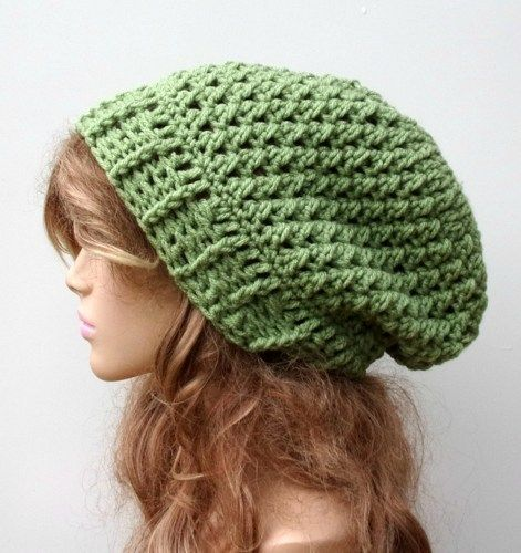Light green Baggy Hipster Hat Dread Tam Slouchy Hippie ...