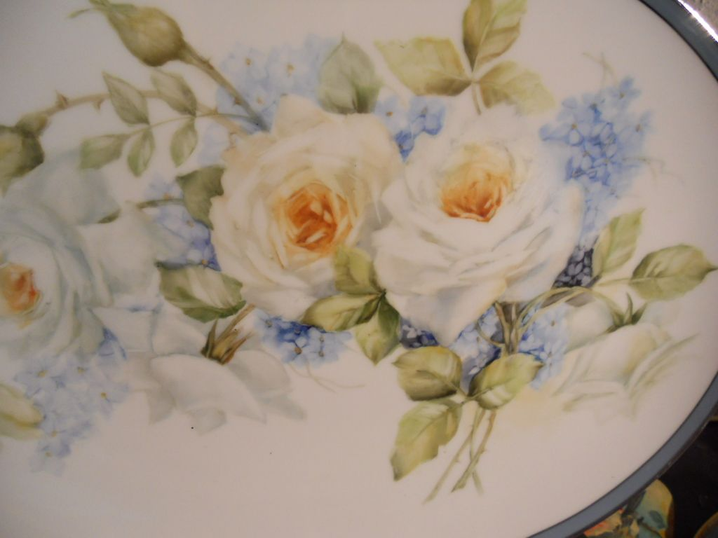 White roses and forget-me-nots artist June Watson