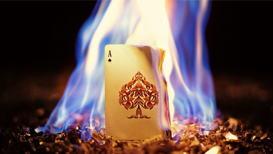 Ace Of Spades Card On Fire