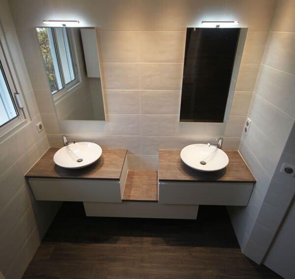 Meuble Double Vasques Décalé Entre Mur
