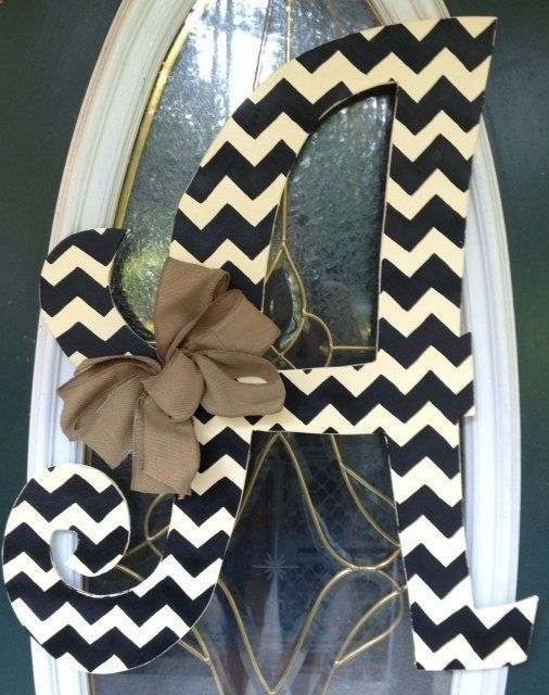 Wooden Letters For Door Outside Curly Chevron Letter Monogram Door Hanger By Elliebelliessigns