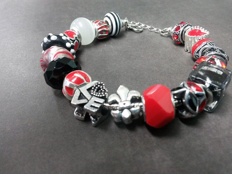Red Black Love Louisiana Sports Theme European Charm Bracelet Lampwork Silver Rhinestone Glass Enamel Bead Snake Chain EB32