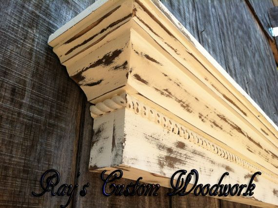 Vintage distressed wood Fireplace mantle by RaysCustomWoodwork ...