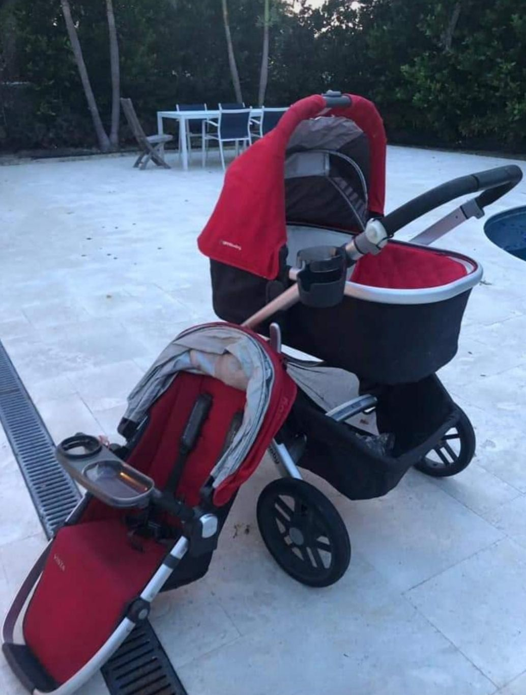 Uppababy Vista Stroller in color red. It was bought in