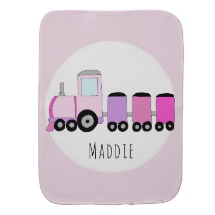 Cute baby girl pink purple doodle train with name burp cloth baby cute baby girl pink purple doodle train with name burp cloth baby gifts child new negle Image collections
