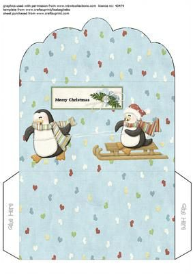 playful penguins gift voucher money wallet envelope on Craftsuprint designed by Alison Sulley - Simply print onto nice quality card stock, cut out, fold and glue. - Now available for download!