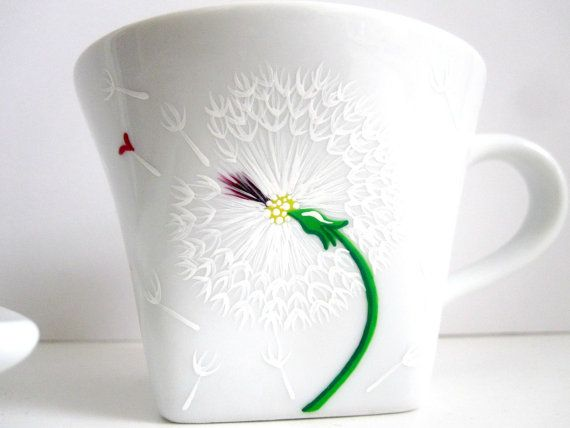 Dandelion with Heart- Teacup and Saucer on Etsy, $25.35 CAD