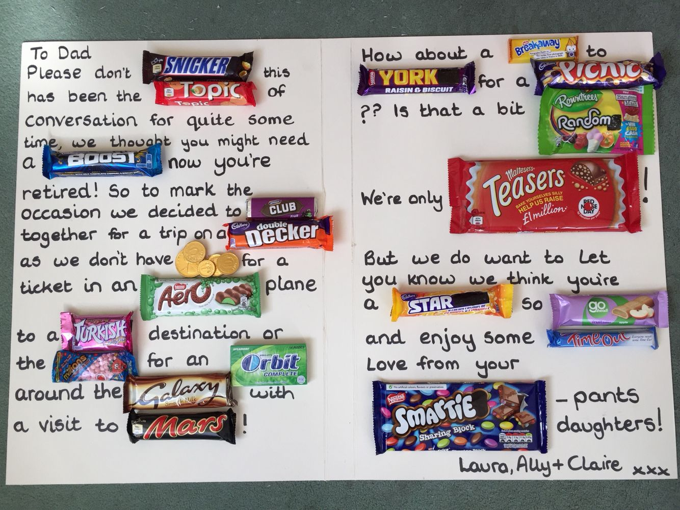 Handmade sweetie candy card retirement uk candy cards