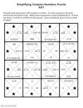 Complex Numbers Square Puzzle With Images Complex Numbers
