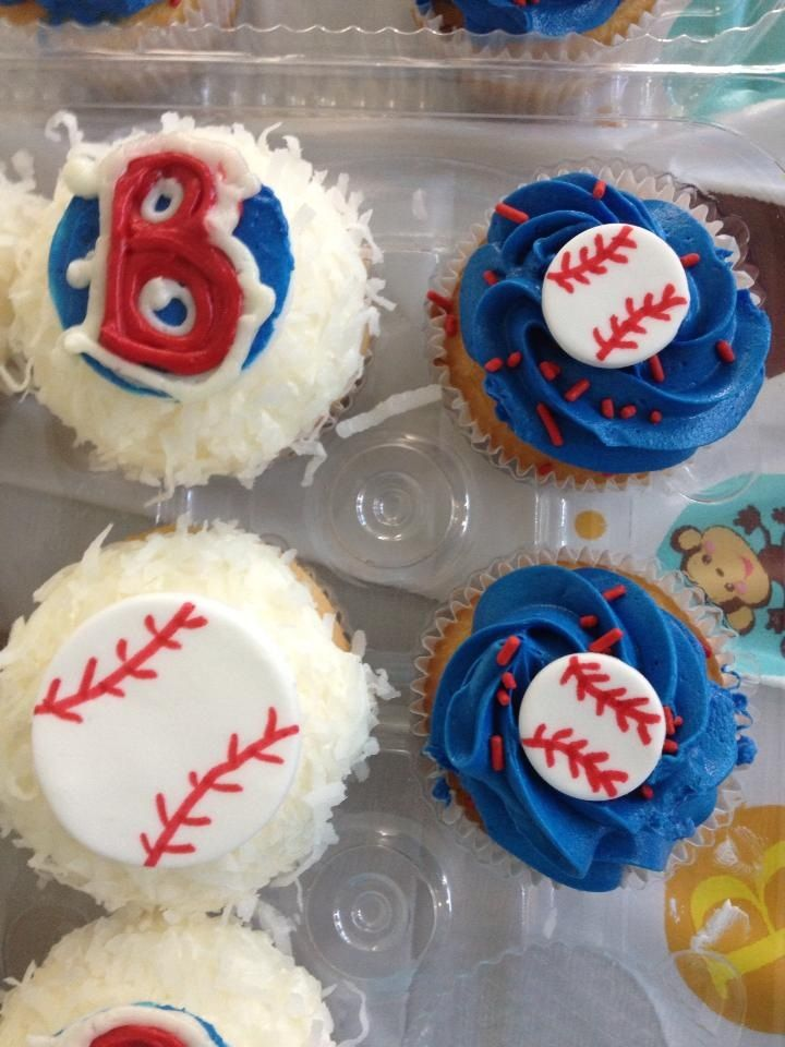 Baby Showers Boston ~ Boston red sox cupcakes for a boy themed baby shower