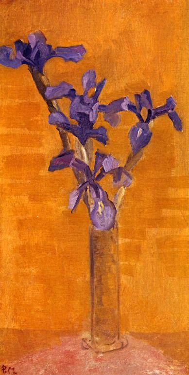 ❀ Blooming Brushwork ❀ - garden and still life flower paintings - Piet Mondrian | Blue Irises against an Orange Background, 1910