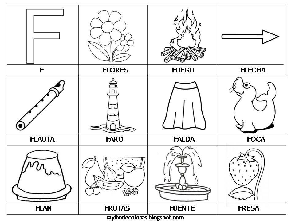 Tarjetas De Lectura Del Abecedario Actividades De Letras Abecedario Para Niños Letra F