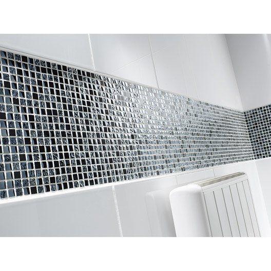 Mosaïque sol et mur Fusion futurisme noir et chrome salle de bain