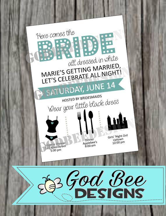 Here Comes The Bride Bachelorette Invitation