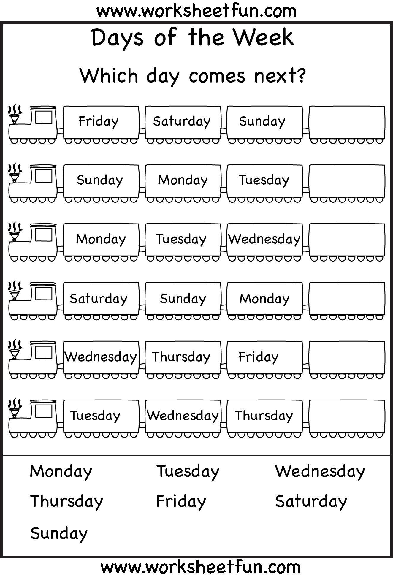 3 Free Kindergarten English Worksheet Days Of The Week